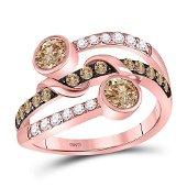 Brown Diamond Strand Band Ring 1 Cttw 10kt Rose Gold