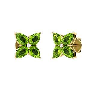 3.45 CTW Peridot & Diamond Earrings 14K Yellow Gold