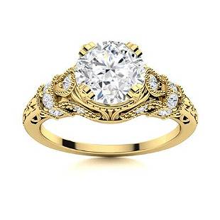 Natural 1.61 CTW Diamond Solitaire Ring 18K Yellow Gold