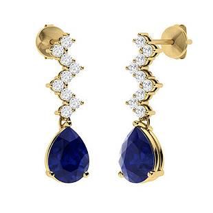 1.04 CTW Sapphire & Diamond Drops Earrings 14K Yellow