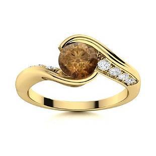 Natural 0.67 CTW Brown & White Diamond Engagement Ring