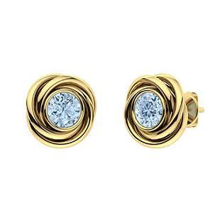 2.14 CTW Aquamarine Studs Earrings 14K Yellow Gold