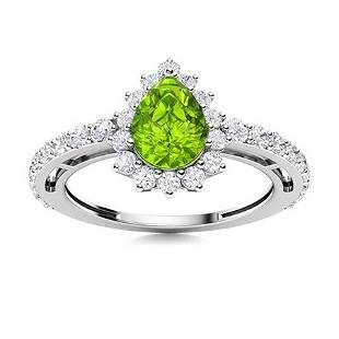 Natural 1.37 CTW Peridot & Diamond Engagement Ring 18K