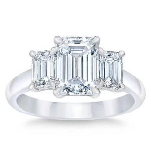 Natural 5 CT Diamond Engagement Ring 18K White Gold