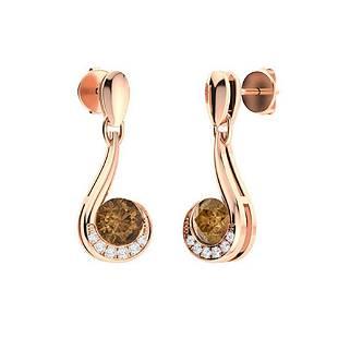0.58 CTW Brown Diamond & Diamond Drops Earrings 14K