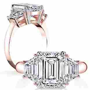 Natural 1.52 CTW 3-Stone Emerald Cut Diamond Ring 18KT