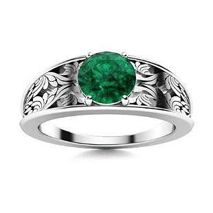 Natural 2.22 CTW Emerald Solitaire Ring 18K White Gold