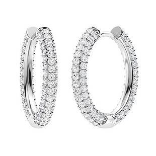 3.23 CTW Diamond Hoops Earrings 18K White Gold