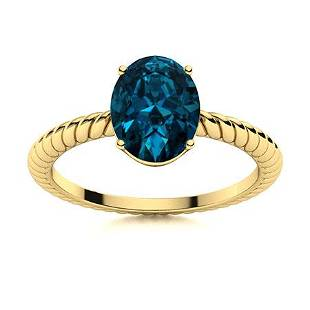 Natural 1.43 CTW Topaz Solitaire Ring 18K Yellow Gold