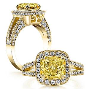 Natural 3.27 CTW Halo Canary Light Yellow Cushion Cut