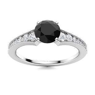 Natural 0.85 CTW Onyx & Diamond Engagement Ring 14K