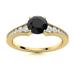 Natural 1.45 CTW Onyx & Diamond Engagement Ring 14K