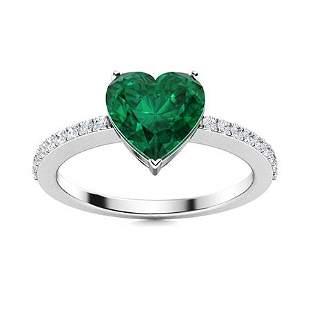 Natural 1.75 CTW Emerald & Diamond Engagement Ring 14K