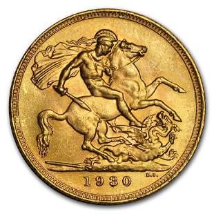 1925-1932-SA South Africa Gold Sovereign George V BU