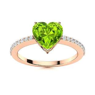 Natural 1.13 CTW Peridot & Diamond Engagement Ring 18K