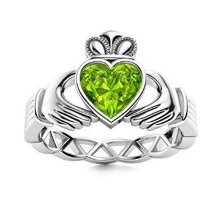Natural 0.51 CTW Peridot Solitaire Ring 18K White Gold
