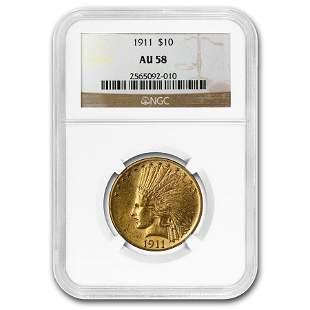 1911 $10 Indian Gold Eagle AU-58 NGC