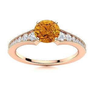 Natural 0.95 CTW Citrine & Diamond Engagement Ring 14K