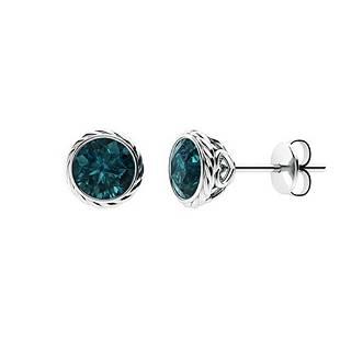 2.06 CTW Blue Diamond Studs Earrings 18K White Gold