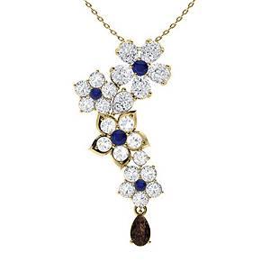 2.19 ctw Sapphire, Quartz & Diamond Necklace 14K Yellow