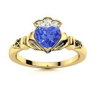 Natural 0.71 CTW Ceylon Sapphire & Diamond Engagement