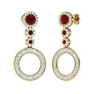 2.96 CTW Garnet Drops Earrings 14K Yellow Gold