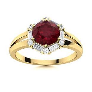 Natural 1.62 CTW Ruby & Diamond Engagement Ring 18K
