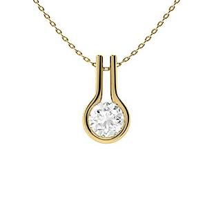 0.82 ctw White Sapphire Necklace 18K Yellow Gold