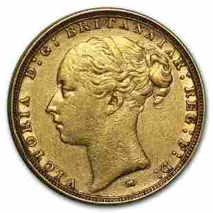 1872-1887-M Australia Gold Sovereign Young Victoria Avg