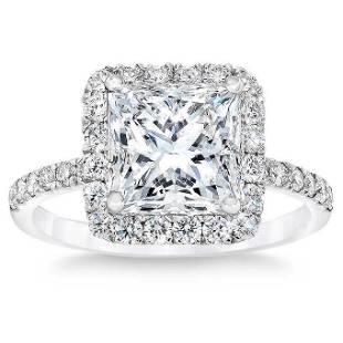 Natural 4.03 CT Diamond Bridal Ring 18K White Gold