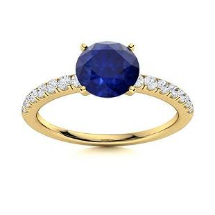 Natural 2.26 CTW Sapphire & Diamond Engagement Ring 14K