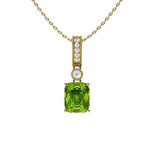 0.78 ctw Peridot & Diamond Necklace 18K Yellow Gold