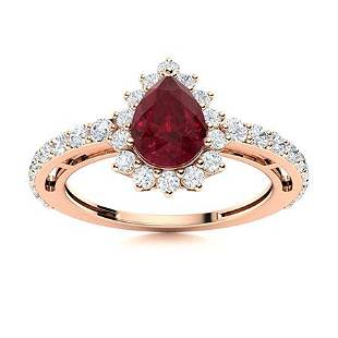 Natural 1.50 CTW Ruby & Diamond Engagement Ring 18K