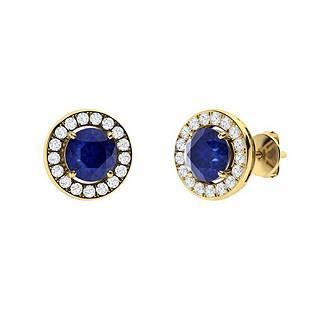 1.33 CTW Sapphire & Diamond Halo Earrings 14K Yellow