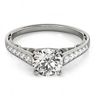 Natural 1.1 ctw Diamond Solitaire Ring 14k White Gold