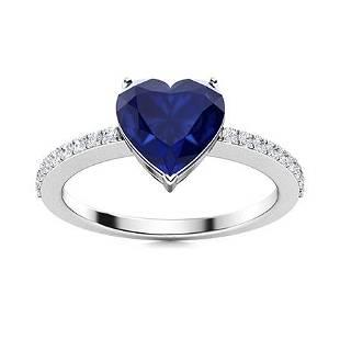 Natural 1.52 CTW Sapphire & Diamond Engagement Ring 18K