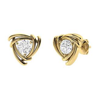 0.96 CTW Diamond Studs Earrings 18K Yellow Gold