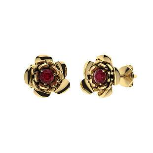 0.34 CTW Ruby Halo Earrings 18K Yellow Gold