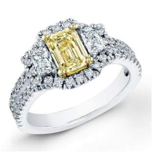 Natural 1.82 CTW Canary Yellow Emerald Cut Diamond Ring