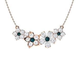 3.06 ctw White & Blue Diamond Necklace 14K Rose Gold