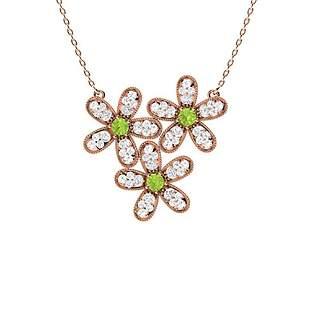 0.55 ctw Peridot & Diamond Necklace 18K Rose Gold