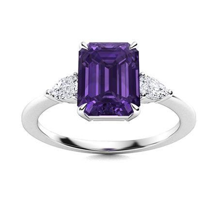 Natural 4.07 CTW Amethyst & Diamond Engagement Ring 14K