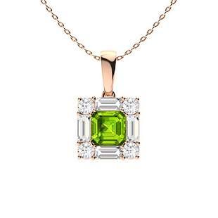 0.86 ctw Peridot & Diamond Necklace 18K Rose Gold