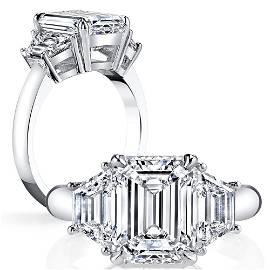 Natural 1.52 CTW 3-Stone Emerald Cut Diamond Ring 14KT