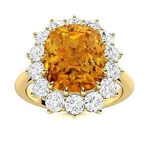 Natural 4.52 CTW Citrine & Diamond Engagement Ring 14K