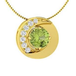 0.49 ctw Peridot & Diamond Necklace 14K Yellow Gold