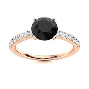 Natural 1.51 CTW Black & White Diamond Engagement Ring