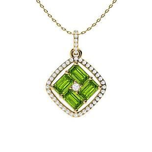 1.65 ctw Peridot & Diamond Necklace 14K Yellow Gold