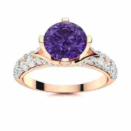 Natural 2.53 CTW Amethyst & Diamond Engagement Ring 14K