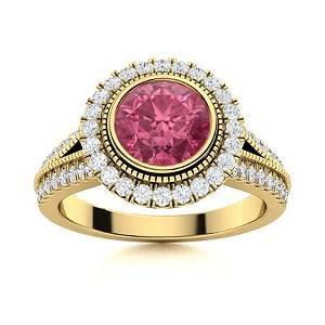 Natural 1.78 CTW Tourmaline & Diamond Engagement Ring